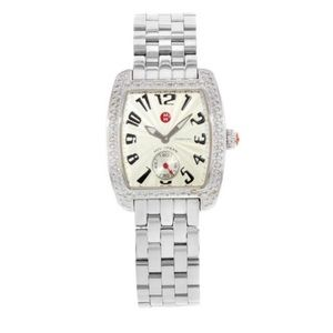 Michele mini urban steel watch with diamonds